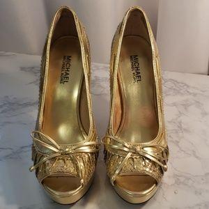 Gold snake print Michel Kors peep toe heels